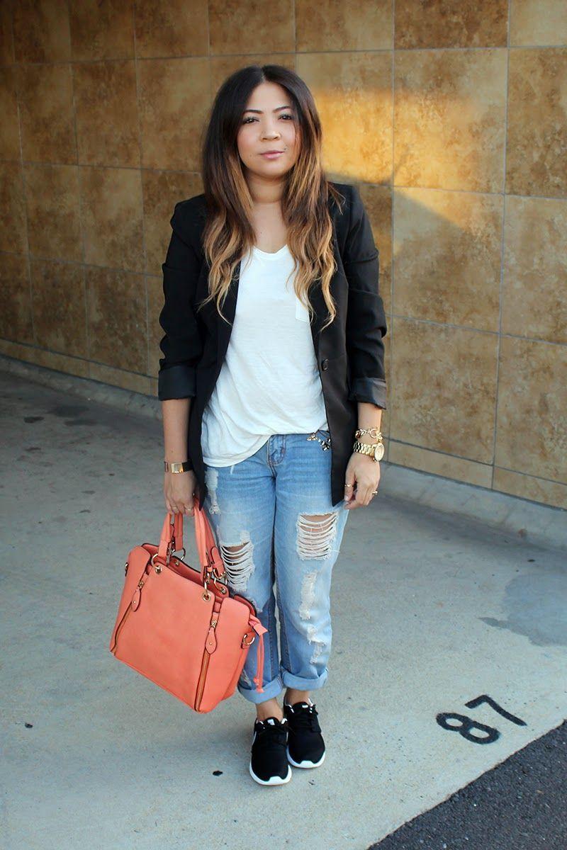 nike roshe run with skinny jeans