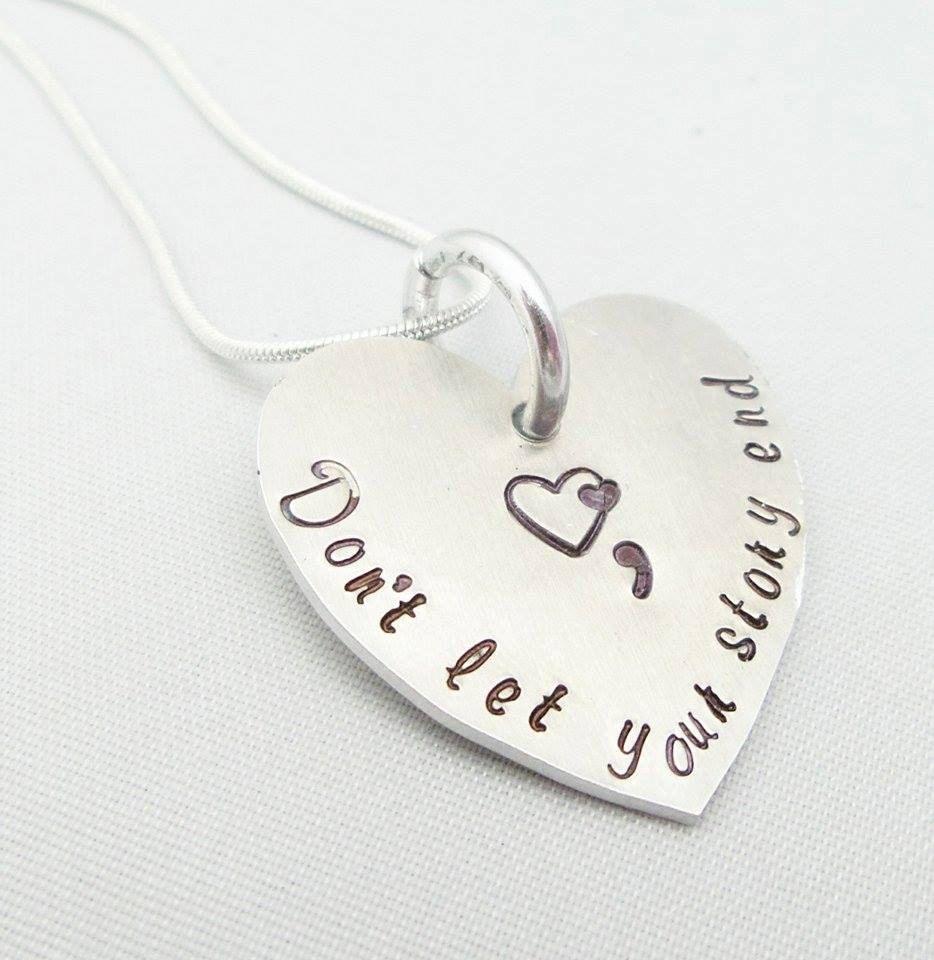 Semicolon Necklace Pendant Jewellery Jewelry Handstamped