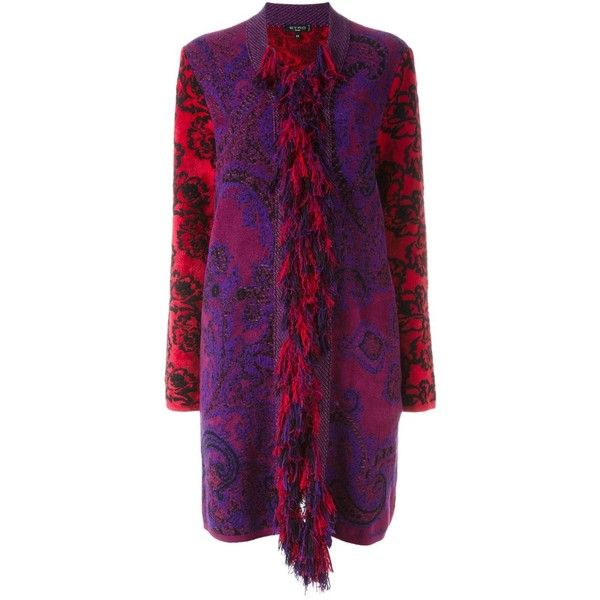 Etro fringed blanket coat ($1,713) ❤ liked on Polyvore featuring outerwear, coats, multicolor, etro, purple coat, fringe coat, etro coat and multi colored coat