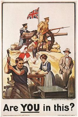 Are YOU in this VINTAGE WAR POSTER united kingdom 1915 24x36 RARE PRIZED
