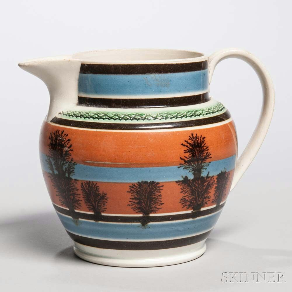Mocha-decorated Pearlware Jug   Sale Number 2985B, Lot Number 7   Skinner Auctioneers