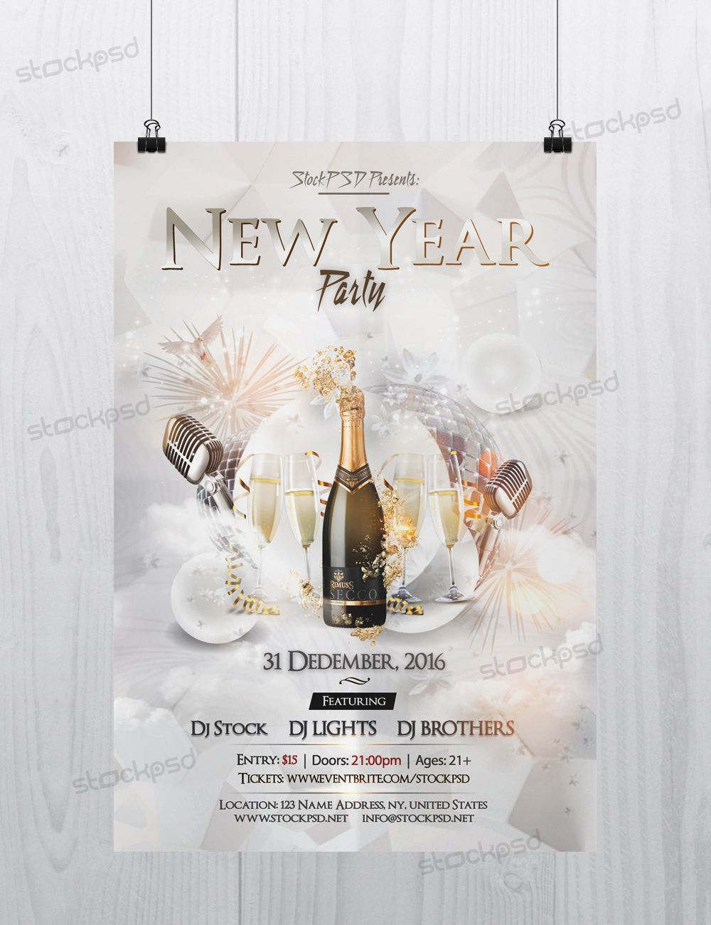 New Year 2017 Party – PSD Free NYE Flyer Template | PSD Flyers ...