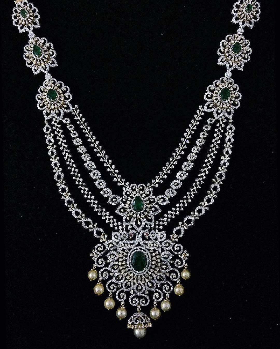 breathtaking heavy diamond necklace set designs jewellery