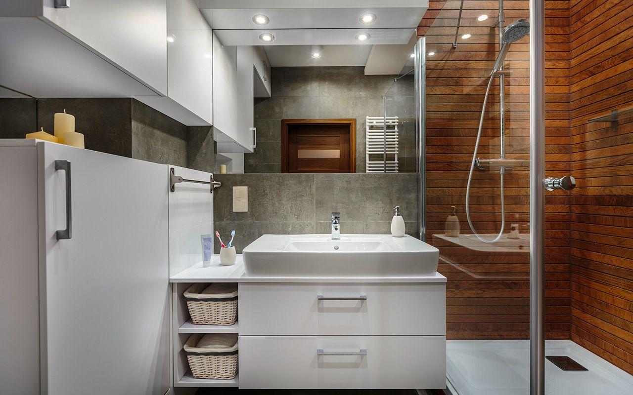 Szara łazienka Drewno Prysznic łazienka Bathroom W