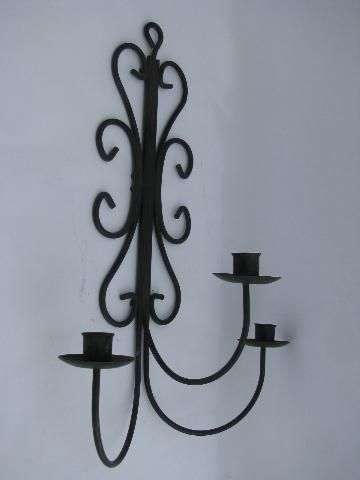 vintage wrought iron scrollwork candle sconce, wall mount ... on Wrought Iron Outdoor Candle Sconces id=89539