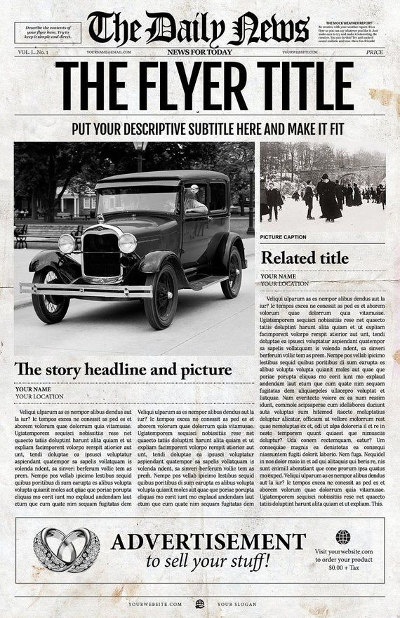 This old fashioned, vintage newspaper front page looks like it came right from the 1920s. It is bound to impress with its large format ledger size. Try your creativity on this fully editable template!  Features  ○ Fully editable  ○ 1 page  ○ 11x17 inches  ○ For Adobe Photoshop  ○ Prints on home