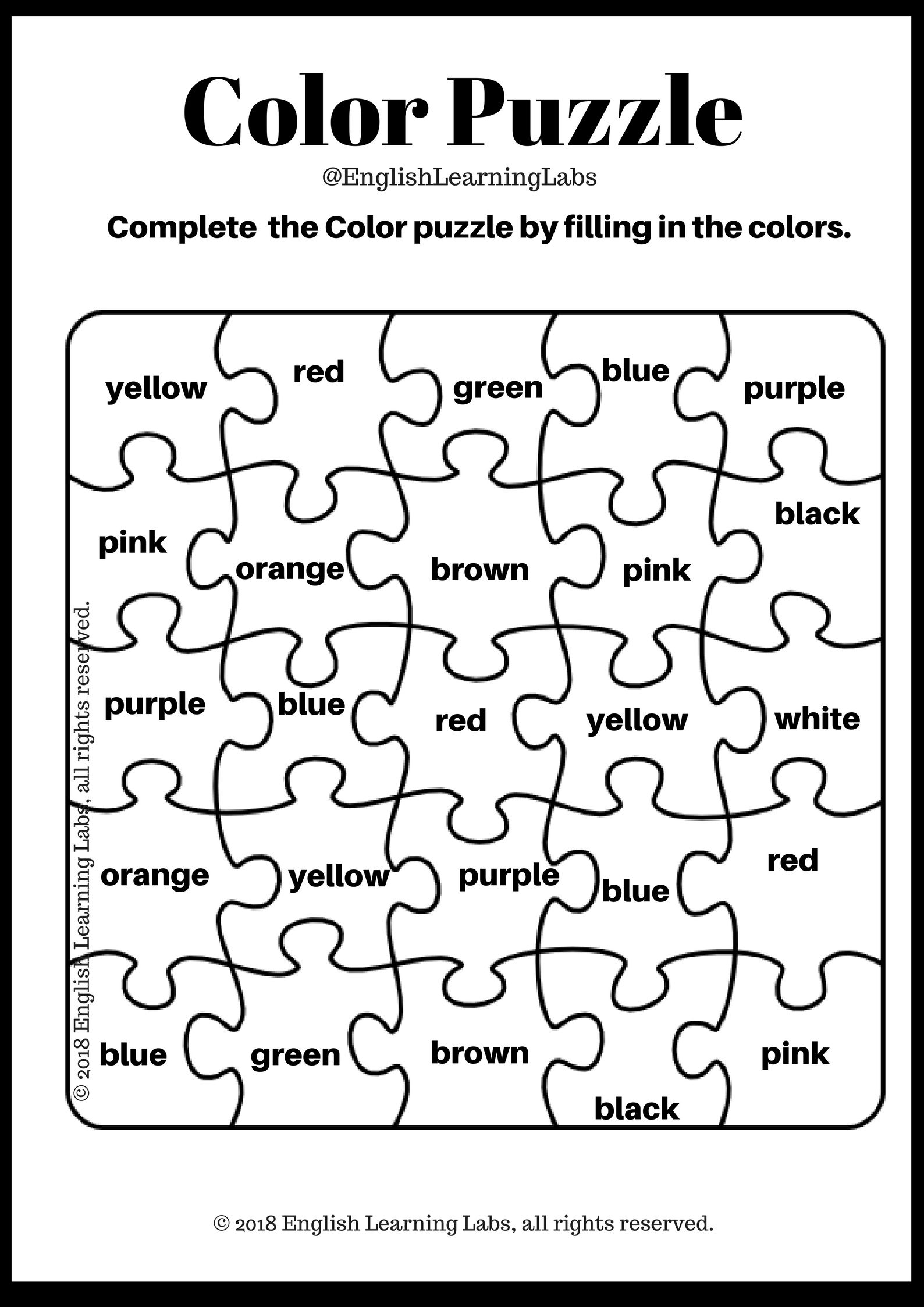 Kindergarten Puzzle Kit English Language Arts And Math