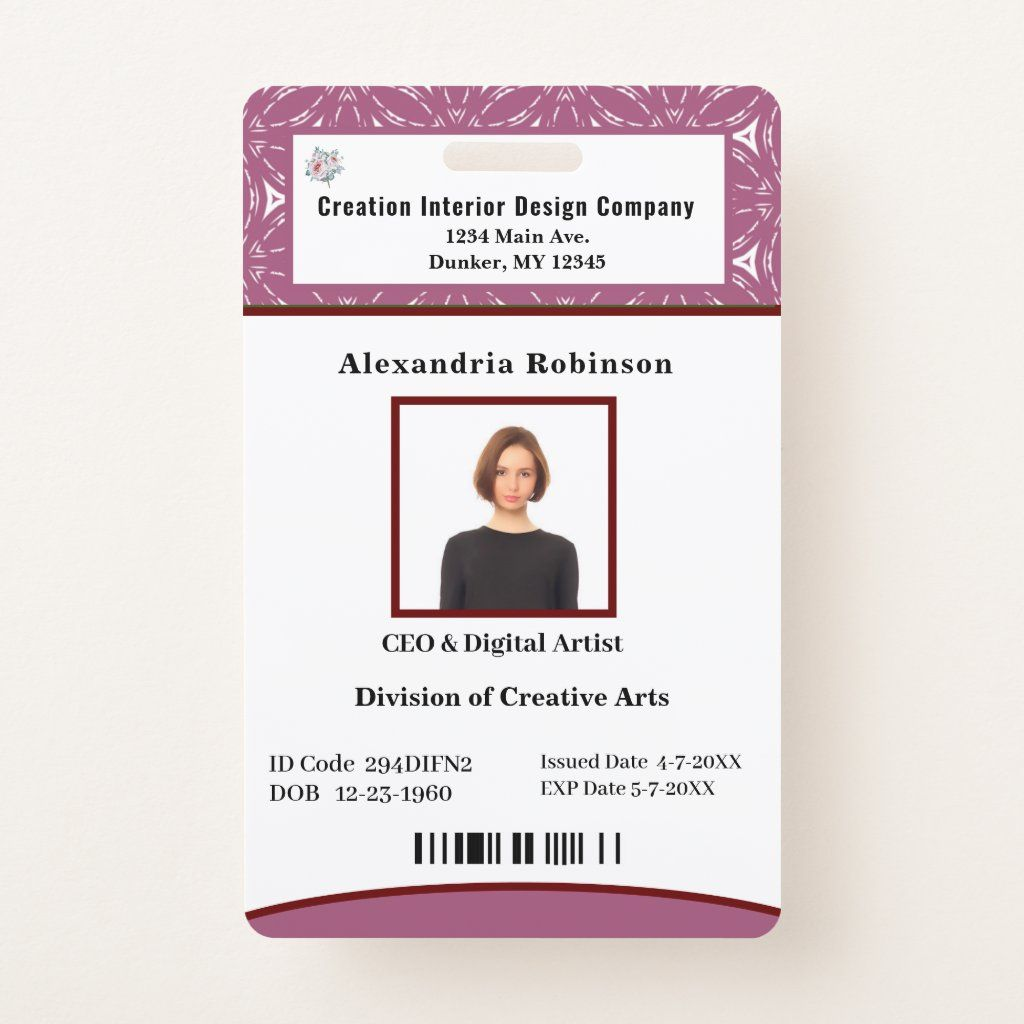 Business Employee Bar Code Logo Id Identification Badge Zazzle Com Coding Business Badge
