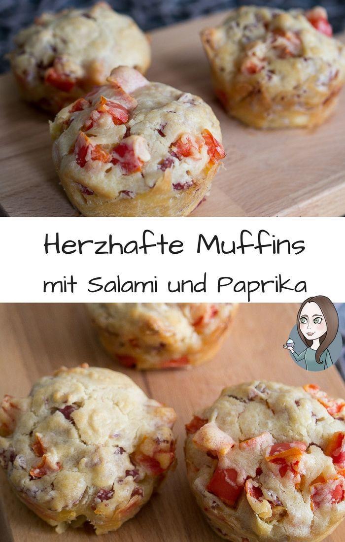 Herzhafte Salami-Paprika-Muffins Rezept - MakeItSweet.de #fingerfoodrezepteschnelleinfach