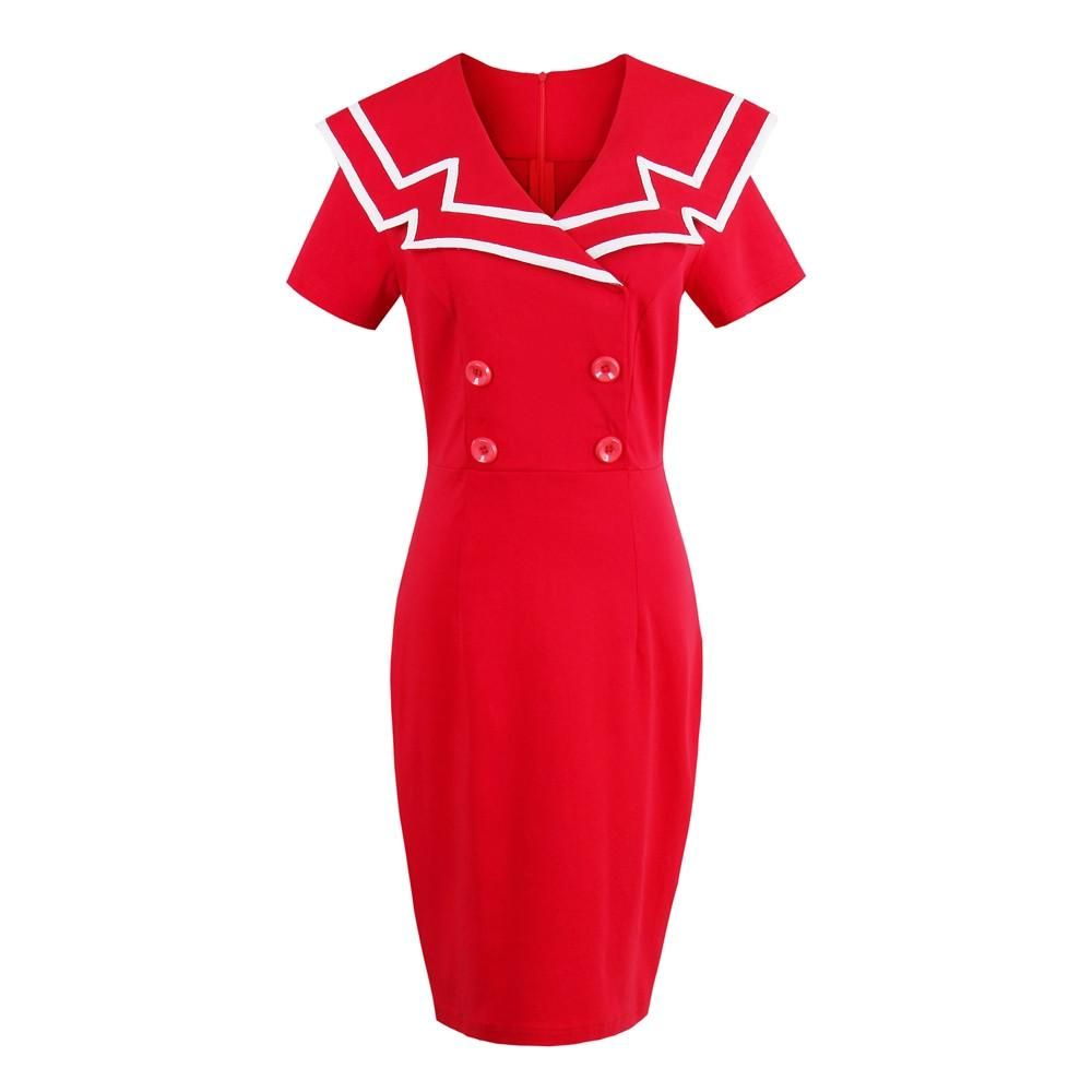 Knee-Length Cap Sleeve Ture Red Daily Casual Bodycon Dress