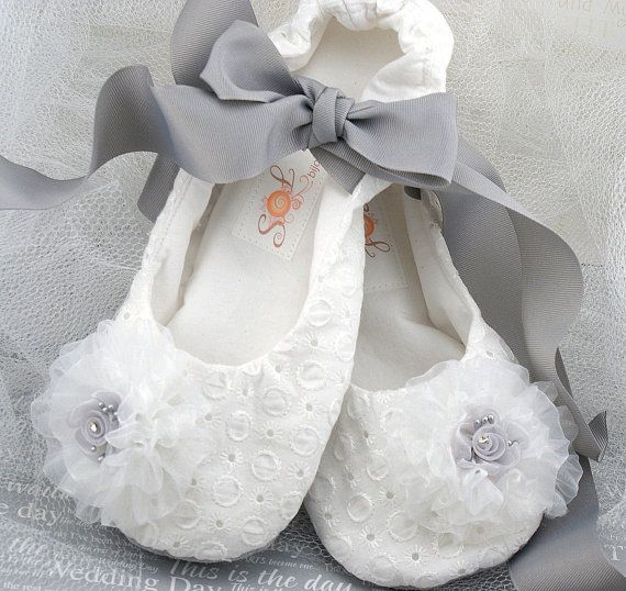 Ballet Slipper Flower Flats In White And Silver By Sol Bijou On Etsy