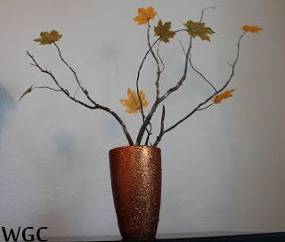Autumn Orange Glitter Vase