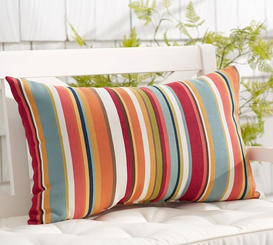 Outdoor Giorgia Stripe Lumbar Pillow Pottery Barn Backyard Pinterest Stripes, Lumbar ...