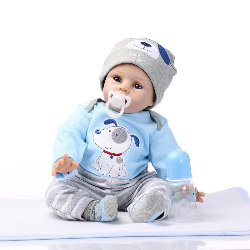 """22/"""" Full Body Silicone Vinyl Boy Reborn Dolls Lifelike Newborn Baby Doll Gifts"""