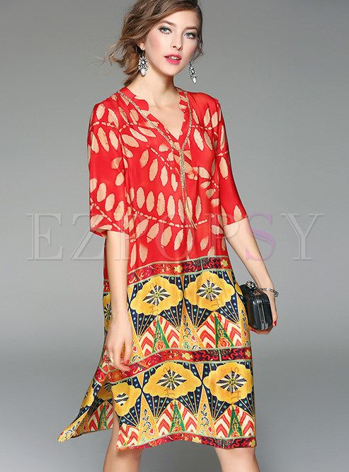 ac6fd53a7fcf Shop for high quality Ethnic V-neck Print Silk Shift Dress online at cheap  prices and discover fashion at Ezpopsy.com