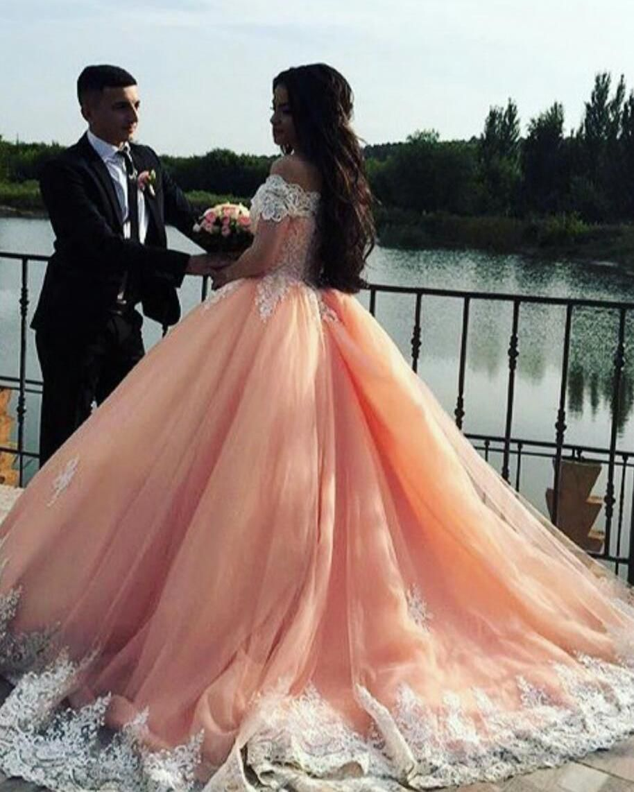 8adbd256a7d Coral Tulle Lace Bodice Off Shoulder Ball Gown Party Prom Dresses 2018