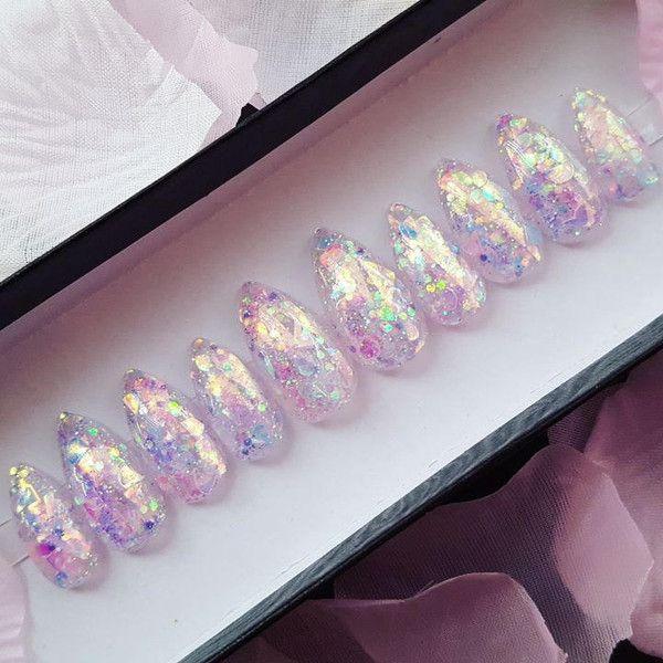 Fairy Blossoms Nail Set- press on nails, kawaii nails, false nails ...