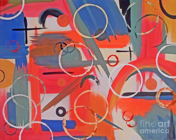 Abstract Geometric Print featuring the painting Rustic Circles by Jilian Cramb - AMothersFineArt