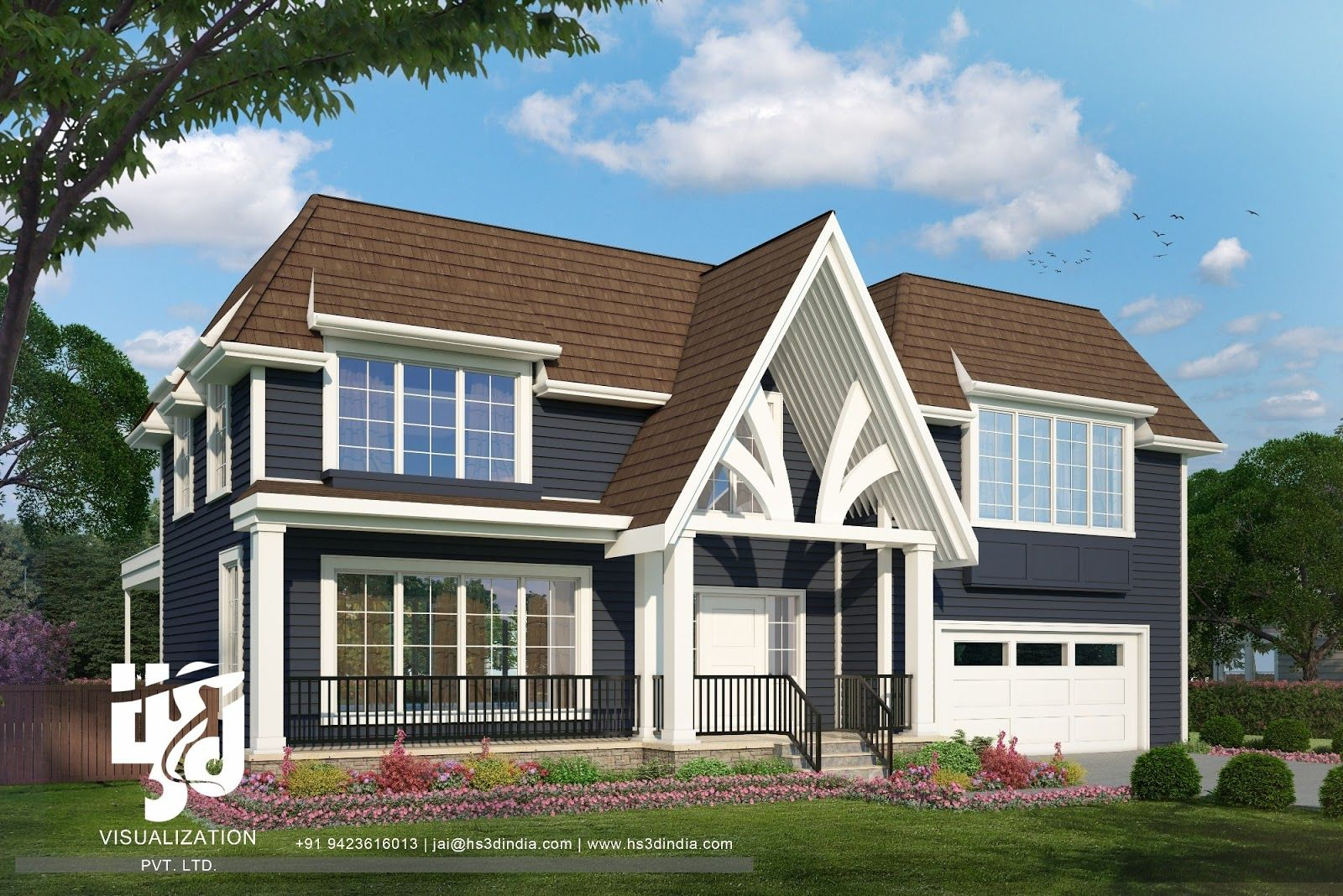 Pin by HS3D VISUALIZATION PVT. LTD. on 2018 TOP BUNGALOW DESIGN CGI House Siding Design Html on best house designs, 2016 house designs, 2015 house designs, lao house designs,