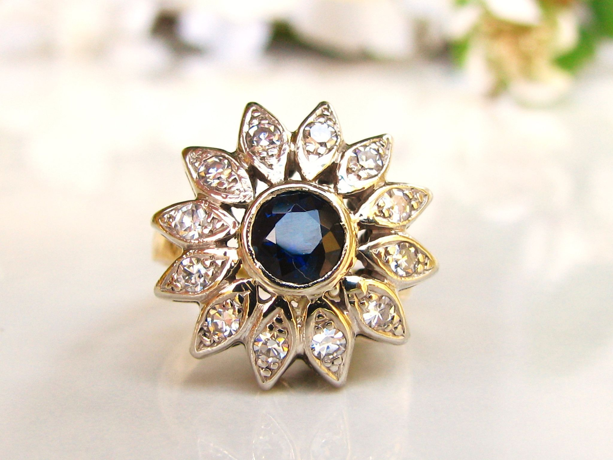 two spinel tone halo floral engagement dark ring blue diamond rings wedding pin gold