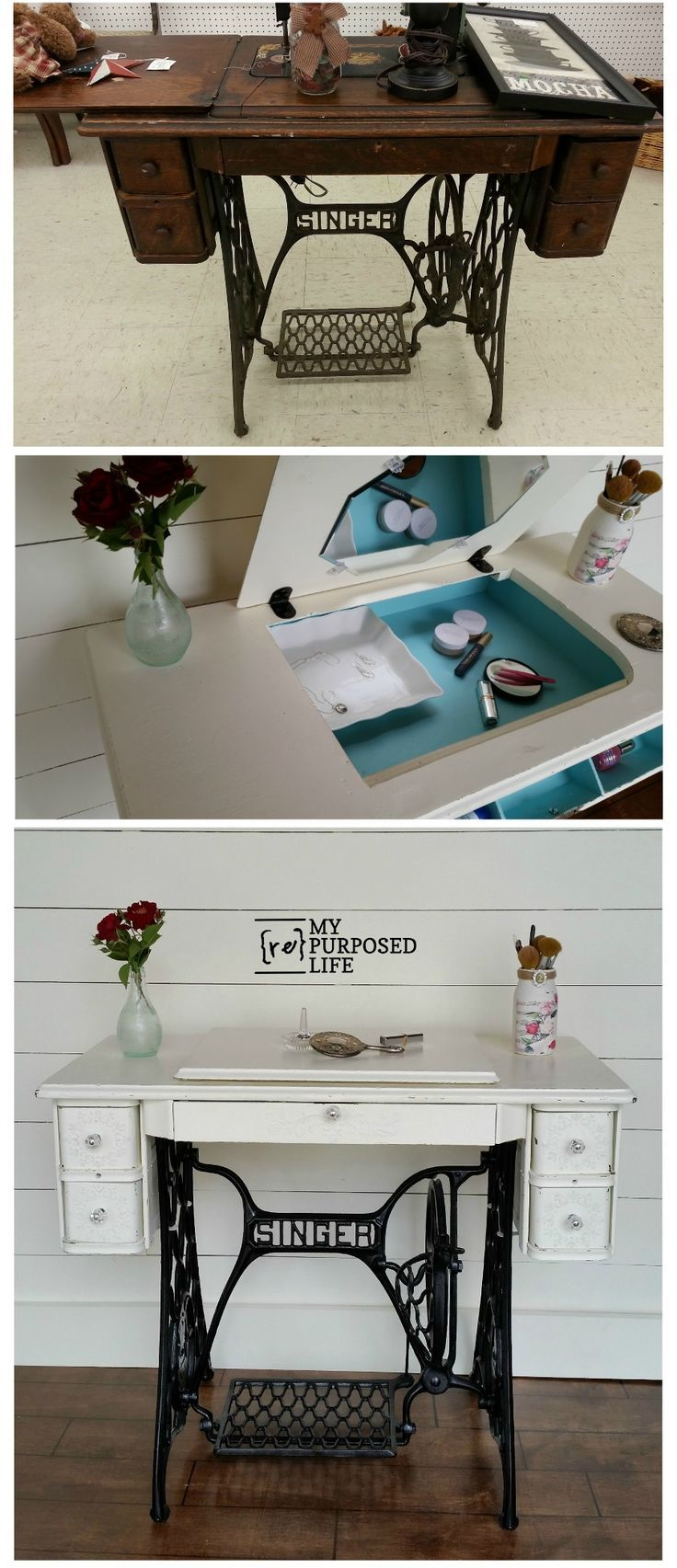 makeup vanity with lots of storage. How to repurpose a singer sewing machine into desk  table or makeup vanity