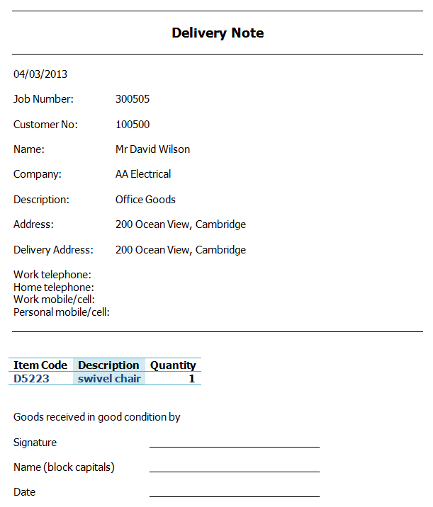 Delivery Note Software  Windows Contacts And Crm