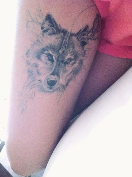 8bd89402a5c2d Wolf, thigh tattoo on TattooChief.com | Tattoo Art | Wolf girl ...