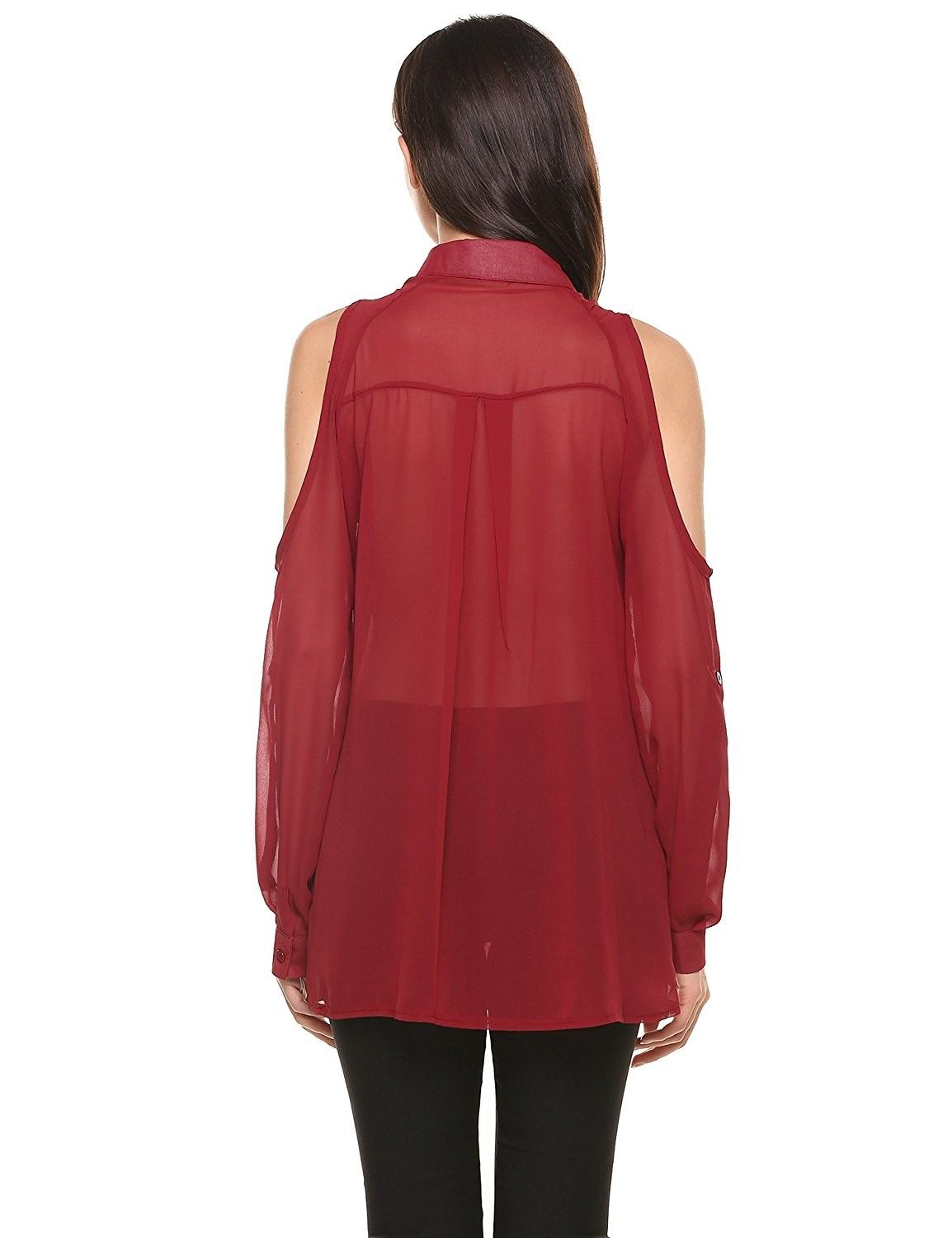 Womens Cold Shoulder Long Sleeve Collared Button Down Chiffon Blouse Tops Wine Red Cz17yk4tio5 Chiffon Tops Blouses Cold Shoulder Long Sleeve Chiffon Blouse