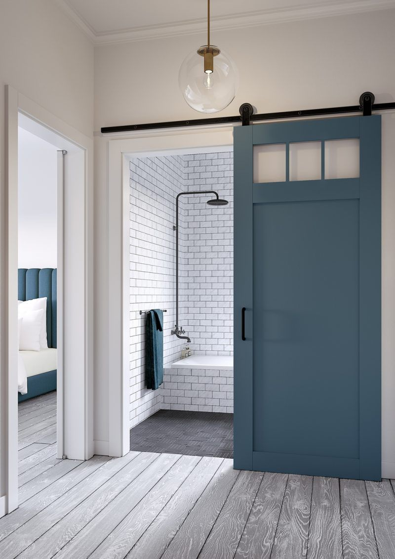 Add Color And Interest To Your Bathroom With This Craftsman Styled Barn Door From Jeff Lewis Company Interior Barn Doors Barn Door Kit Barn Doors Sliding