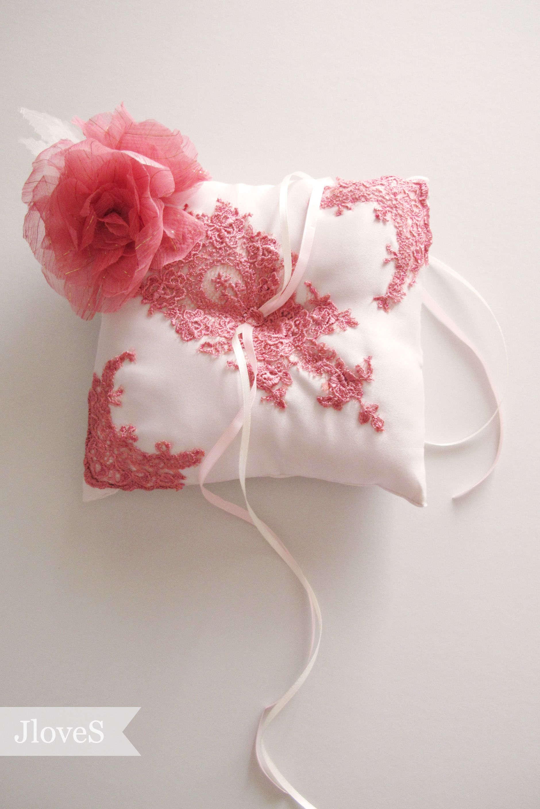 Karni\'s Custom Made Ring Pillow with vintage maroon lace and silk ...