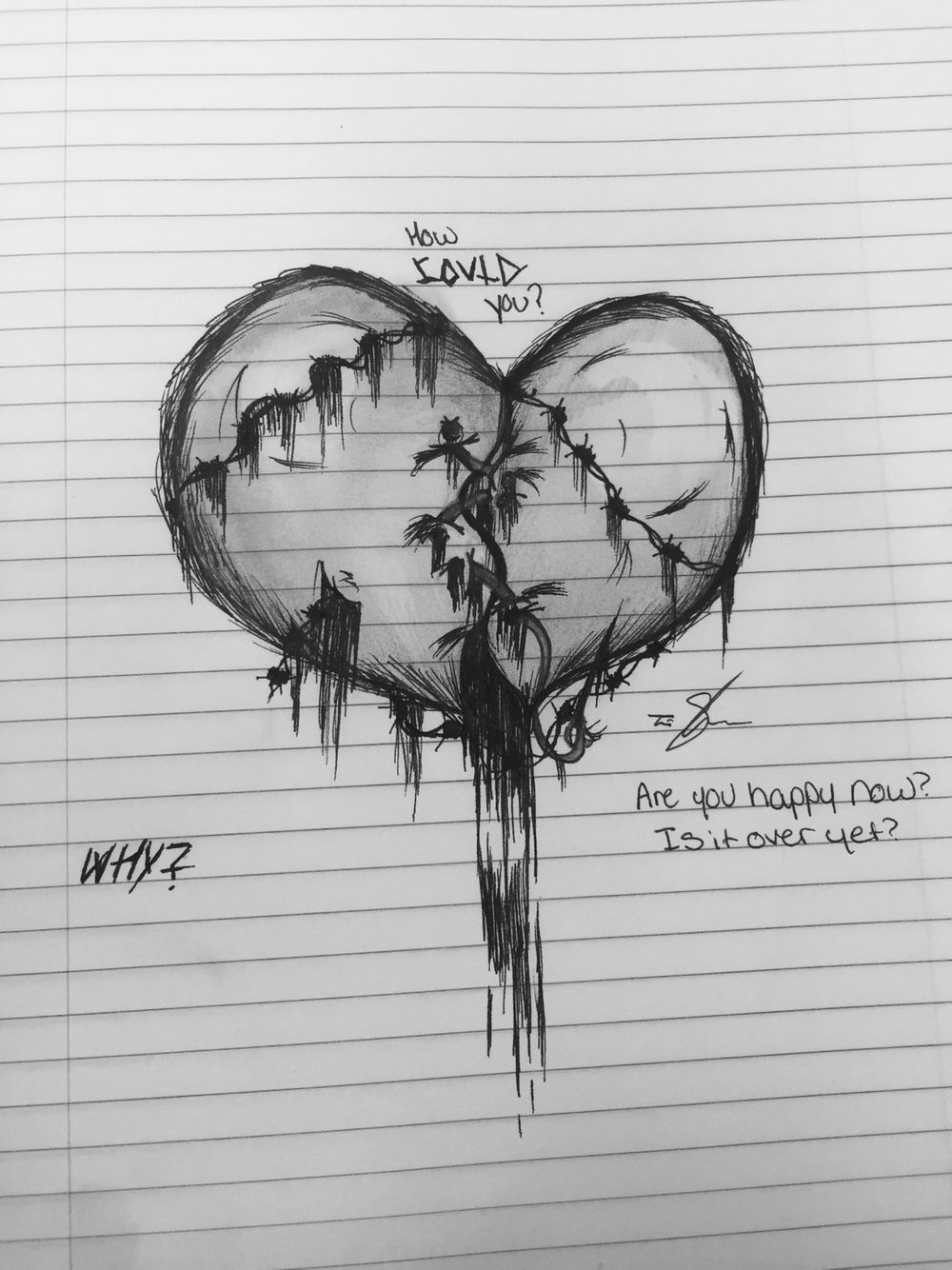 Drawing Of Bleeding Heart. Sketches And Paintings Drawings Hearts Artwork