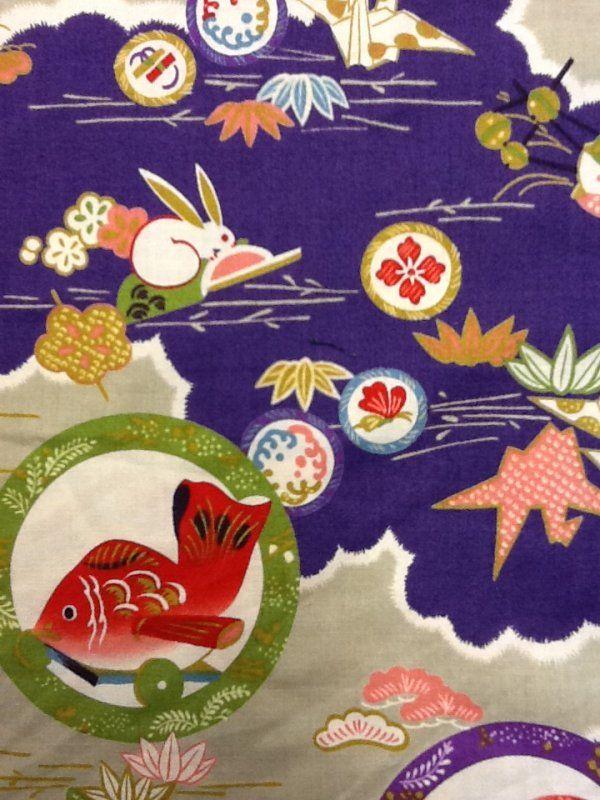 Echino Kokka Japan Origami Cranes Bunnies Koi Fish Cute Kawaii Cotton Quilt Fabric SALE! $22/yd  CS242