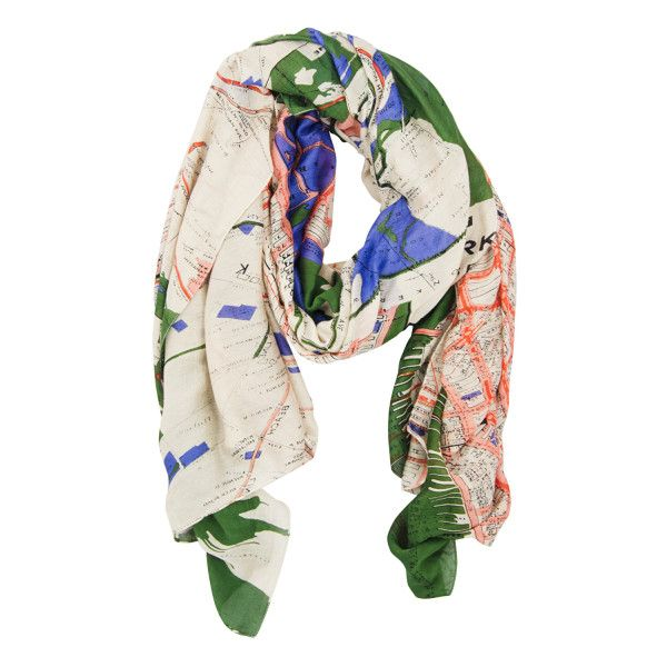Map Scarf New York (£29) ❤ liked on Polyvore featuring accessories, scarves, print scarves, patterned scarves and world map scarves
