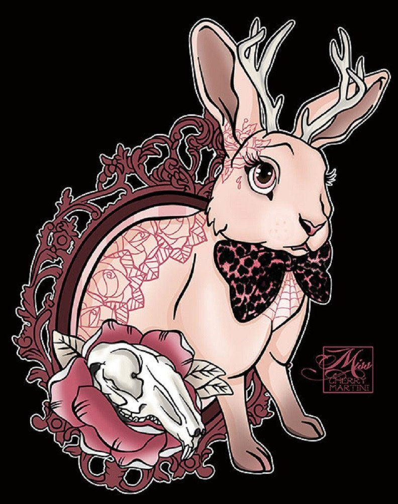 bunny tattoo by miss cherry martini jackalope rabbit canvas art