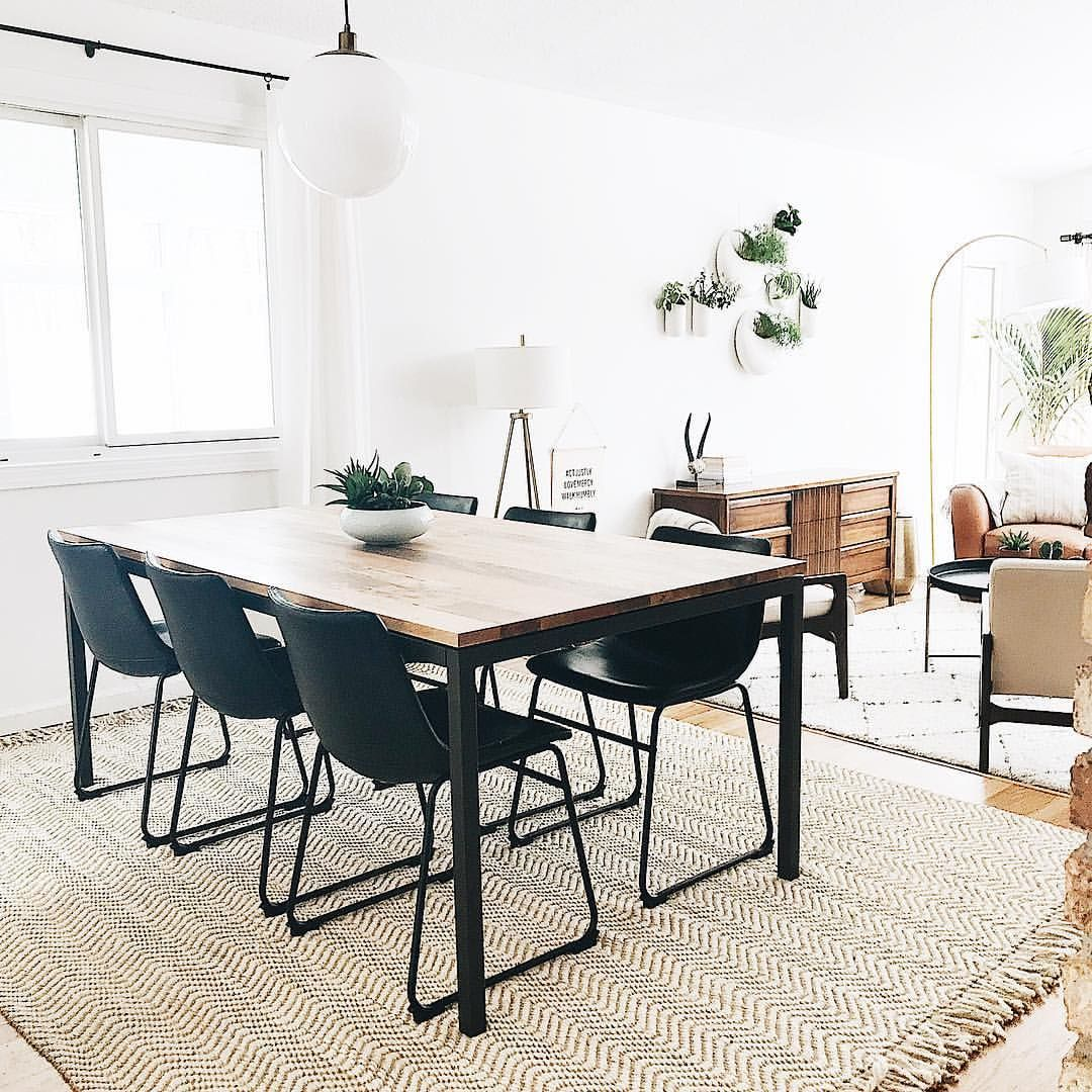 Dining Room West Elm Box Frame Table Just Rug Globe Pendant Light Leather Chairs Wall Planters Living Wall Dining Rug Dining Room Rug Dining Room Design #west #elm #living #room #chairs