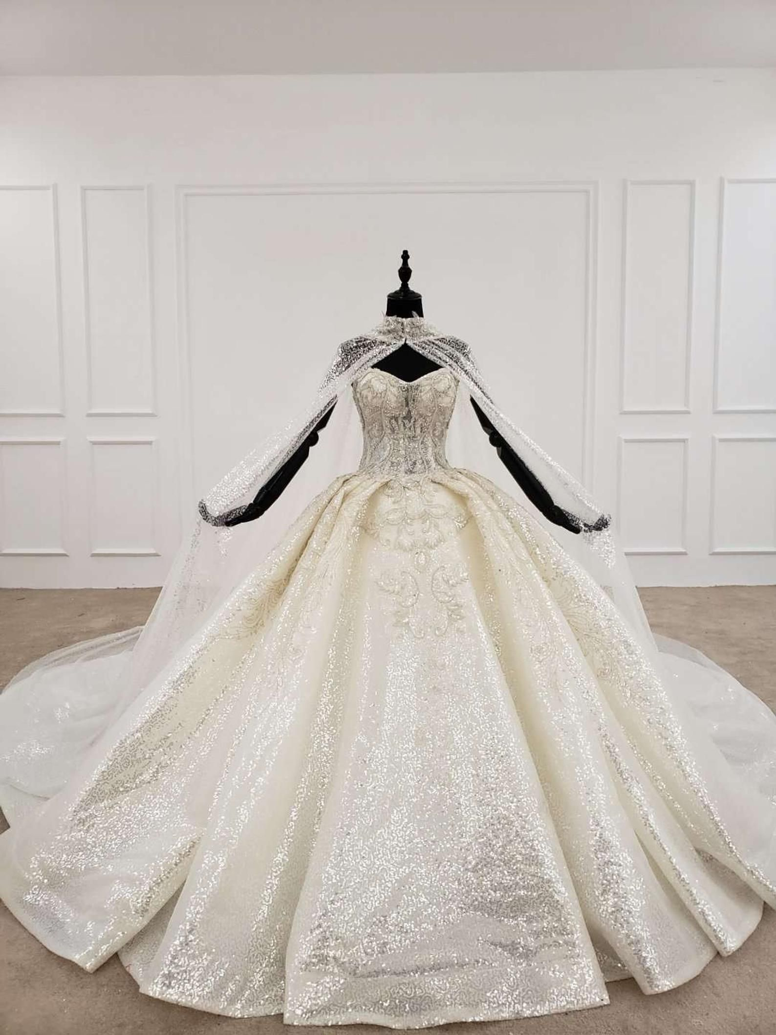 Luxury Bling Ballgown Royal Wedding Dress With Cape Champagne Etsy Cape Wedding Dress Royal Wedding Dress Strapless Wedding Dress Ballgown
