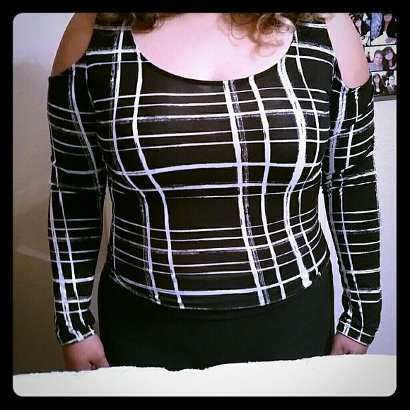 Material Girl- Striped Long sleeved shirt I have never worn it. It is stretchy and very cute. Goes well with jeans or leggings. Material Girl Tops Tees - Short Sleeve