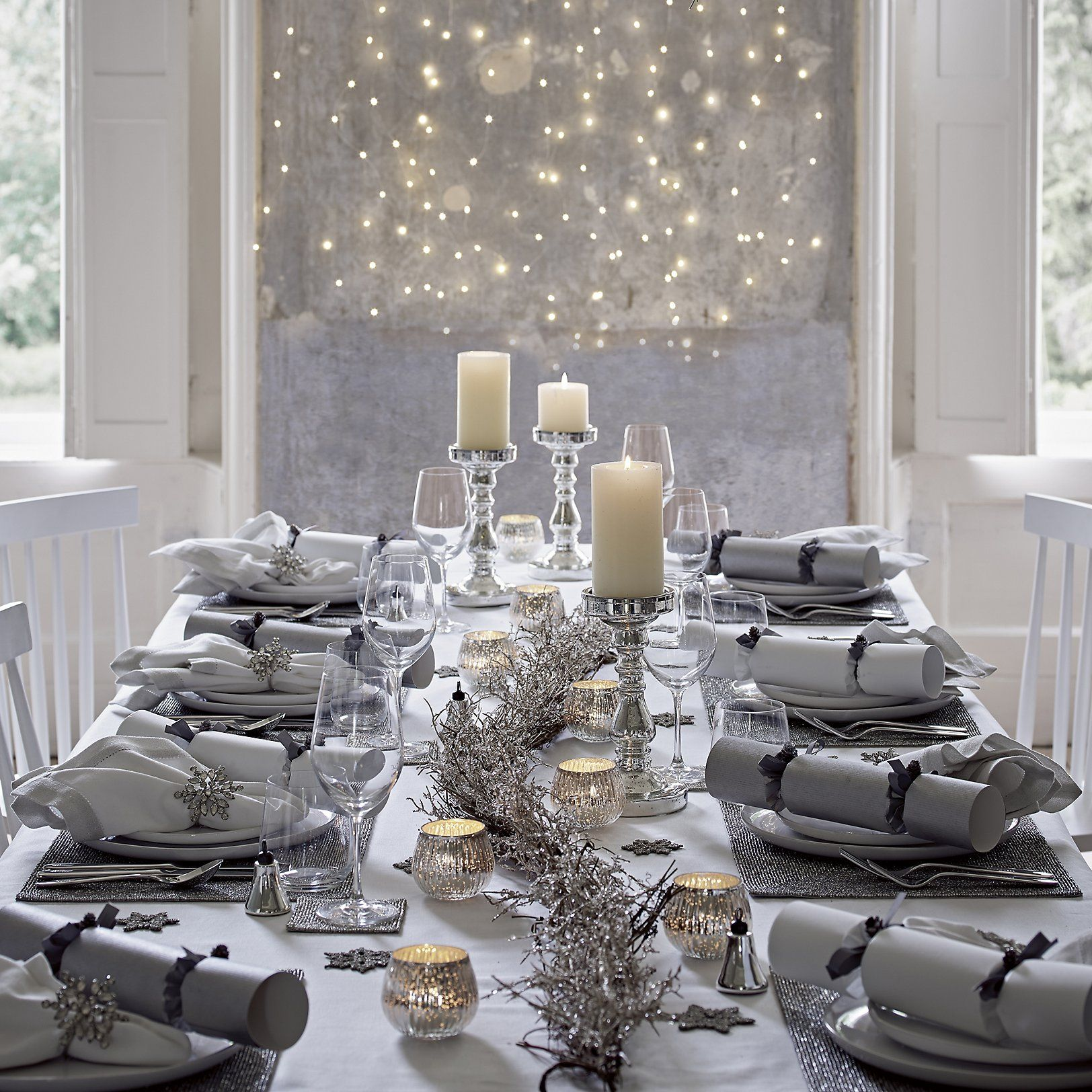 Beaded Garland Pre Lit The White Company Uk Christmas Dining Table Christmas Table Settings Decor