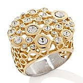 Stately Steel Goldtone Scattered Crystal Ring
