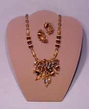 Hobe Crystal Rootbeer Glass Cluster Necklace & Earrings