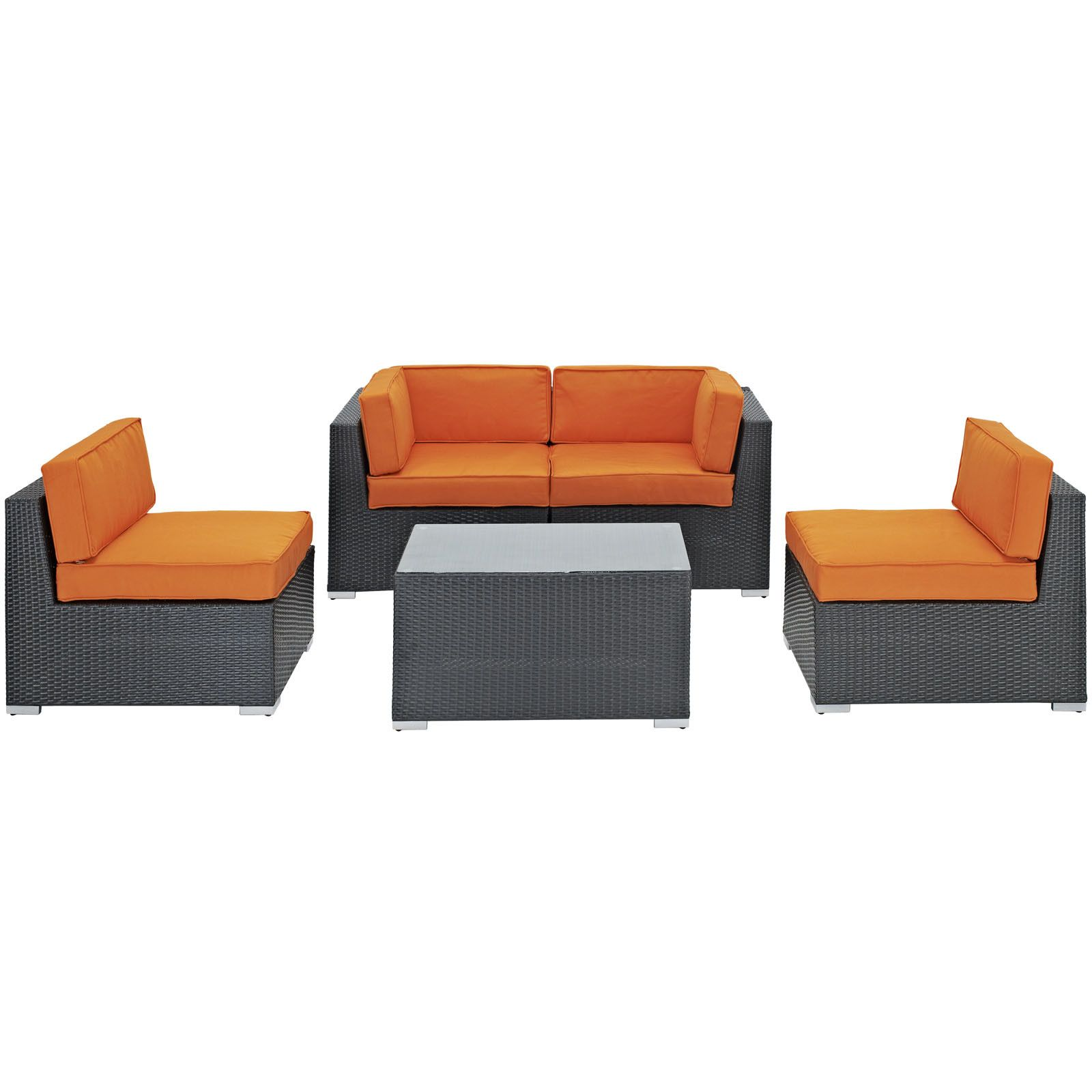 Camfora piece outdoor patio sectional set espresso orange