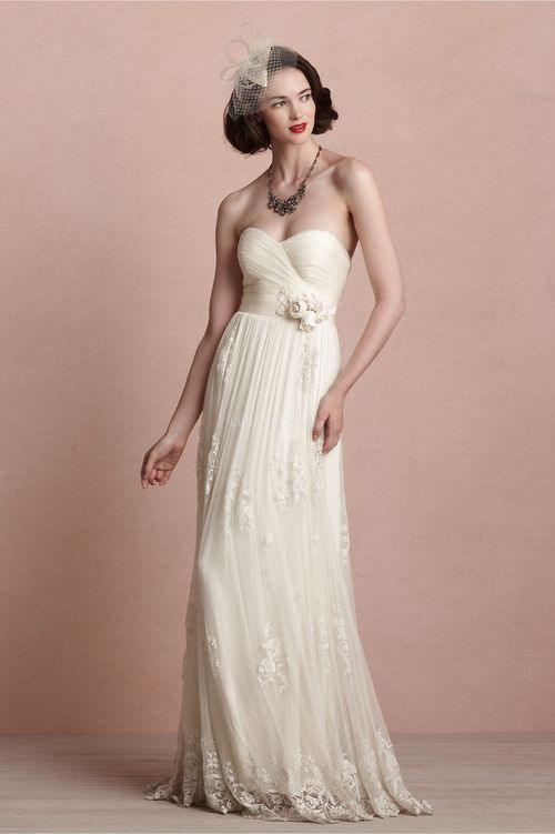Graceful Tulle Sheath/ Column Sweetheart Empire Waist Sleeveless Wedding Dresses - Lunadress.co.uk