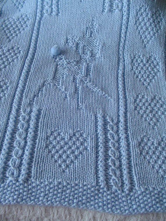 Baby Deer Blanket Blue Baby Blanket Hand Knit Baby By Ednascloset