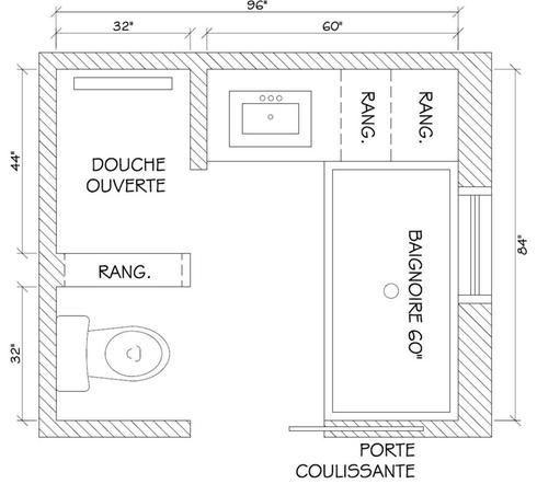 r sultat de recherche d 39 images pour salle de bain de 6m2 baignoire douche wc plans sdb. Black Bedroom Furniture Sets. Home Design Ideas
