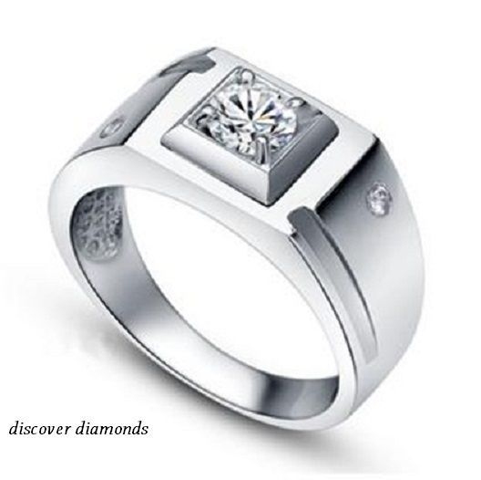 2f33a9e33438f 0.60 Ct Round Cut Diamond 14 k white Gold Father'day Gift for