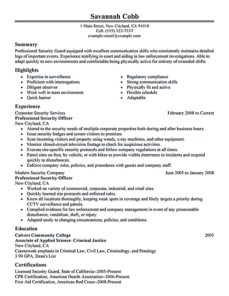Tips To Write Your Security Officer Resume Resume Examples