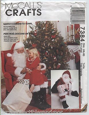 Santa Claus Costume Doll Bag Belt Hat McCalls Sewing Pattern 7384 Adults XL