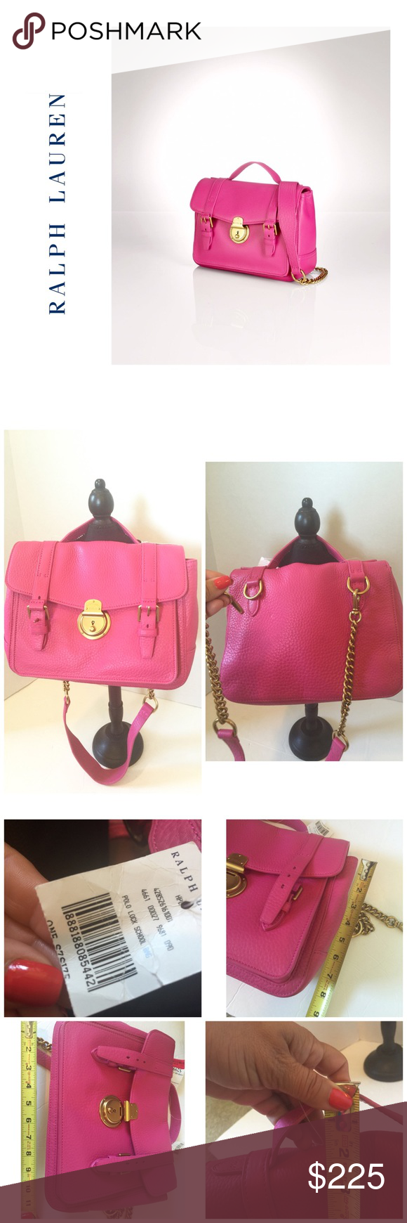 Selling this PRICE ⤵️Ralph Lauren Leather Pink Brass Lock Bag on Poshmark!  My… c4e240b916