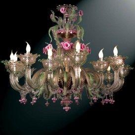 Very nice Murano glass chandelier Lampadario in vetro