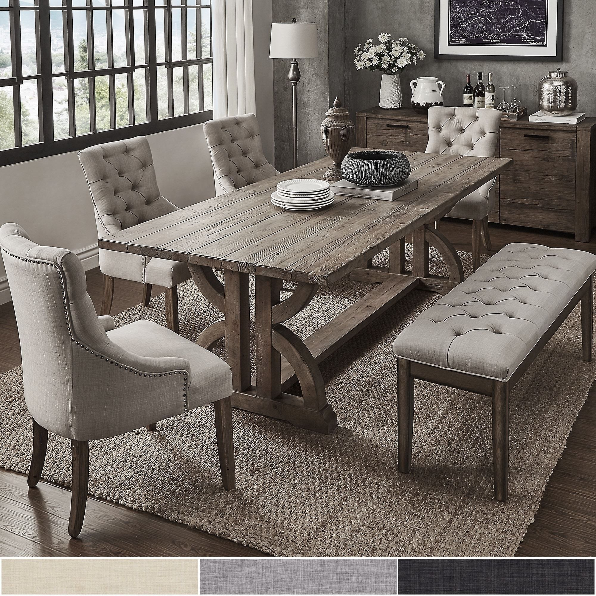 reclaimed pine wood 6piece rectangle dining set